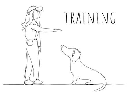 Professional female pet instructor training domestic dog command sit in pet center or school, cynological club in lesson. Design hand drawing. Drawn continuous line vector illustration one line art.