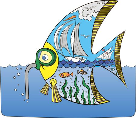 Color drawing of the fish-diver Banque d'images - 138429027