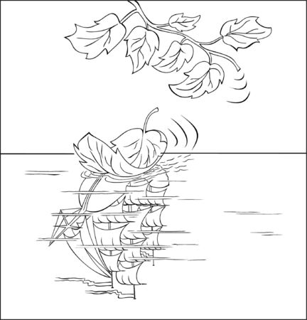Black & white drawing of a leaf-romantic that represents itself as a sailing ship Vektoros illusztráció