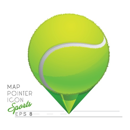 wimbledon: Colorful sports Map pointer icon  Tennis ball  Vector