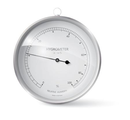 humidity gauge: Metal framed hygrometer eps 10 Illustration