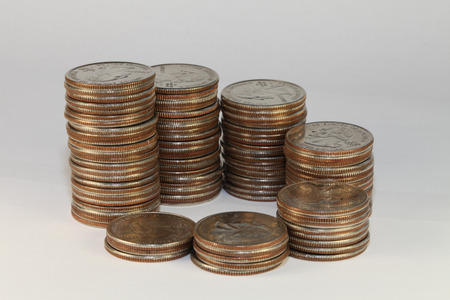 close view of twenty five cents coins Stock Photo