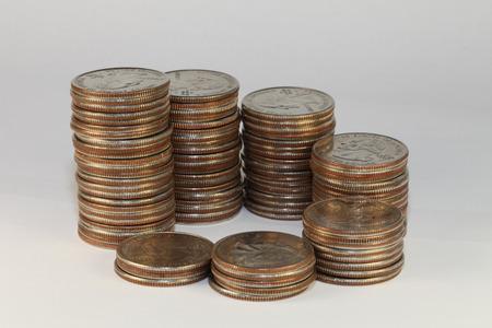 twenty five: vista de cerca de monedas de veinticinco centavos Foto de archivo