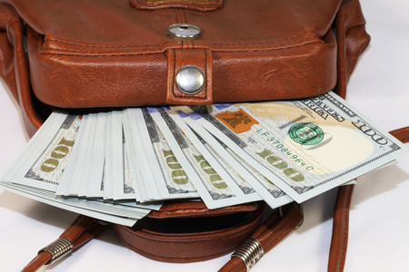 change purse: change purse with one hundred dollar bills Stock Photo