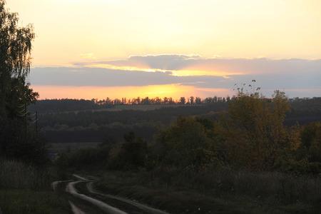 evening glow: Summer evening glow in the Ukrainian village