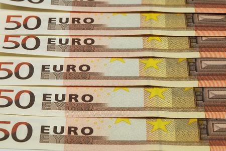 euro banknotes: Close up of Euro banknotes