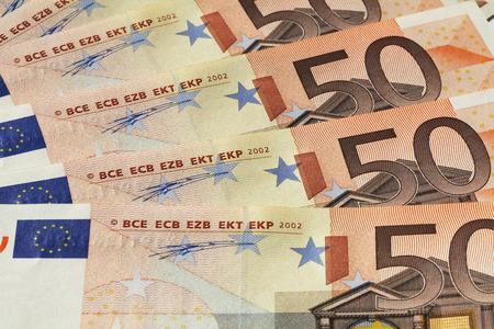 banconote euro: Close up of Euro banknotes