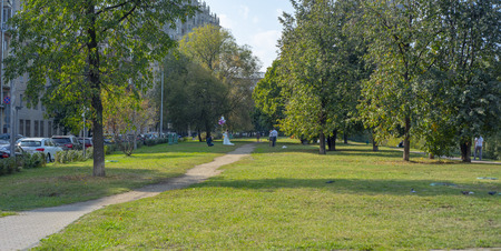 City the Moscow region,Beautiful Park trees.