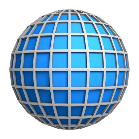 globe grid: Blue globe symbol