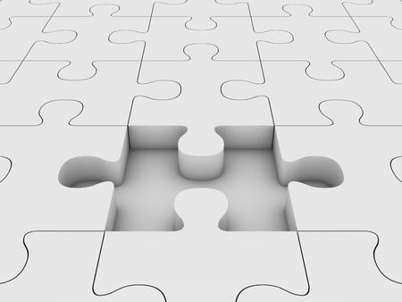 missing piece: Puzzle con piezas que faltan Foto de archivo