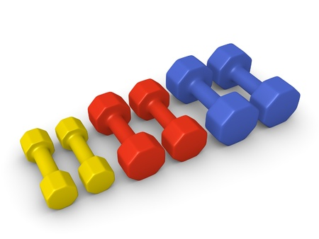 sporting goods: Different weight dumbbells