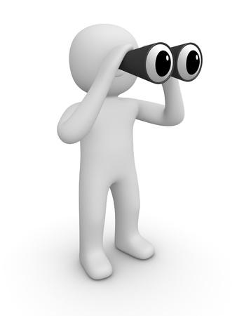 3d man with binoculars Archivio Fotografico
