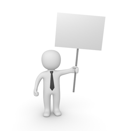demonstration: 3d man with sign board Stock Photo
