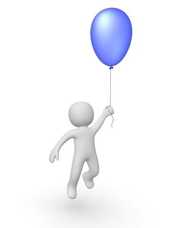 3d man with a balloon Stock Photo - 13097222