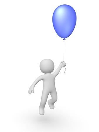 3d man with a balloon Stock Photo - 13097222