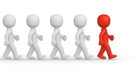personalidad: Marchando los hombres en 3D con el líder Foto de archivo