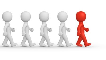 personalit�: Marching uomini 3d con il leader