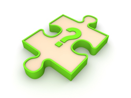 Puzzle piece with interrogation mark