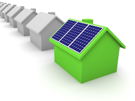 produce energy: Green house with solar panels Stock Photo