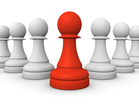 Red pawn in front of white pawns Stock Photo - 13097413