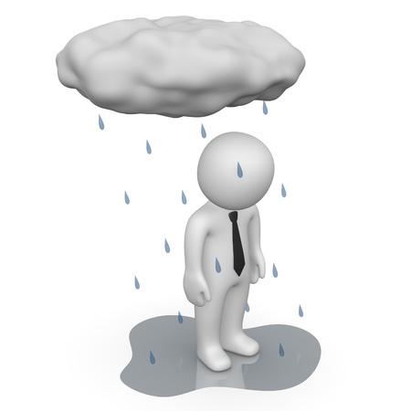 humeur: 3D homme debout sous la pluie des nuages ??petite