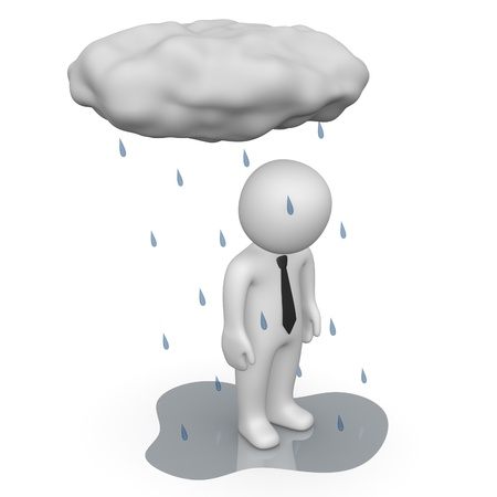 mood: 3d man standing under small rain cloud