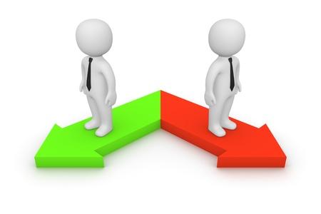 Twee verschillende richtingen Stockfoto