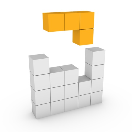 3d concept of tetris game