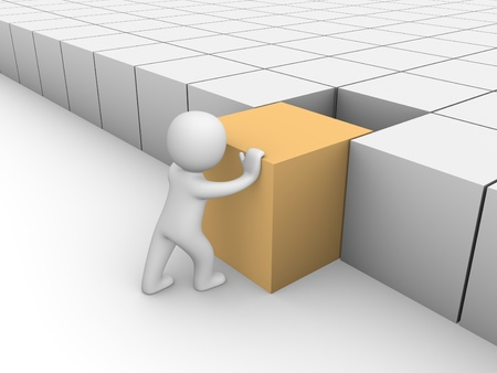 3d man pushing 3d cube