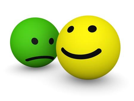 smiley content: Triste et heureux visages souriants