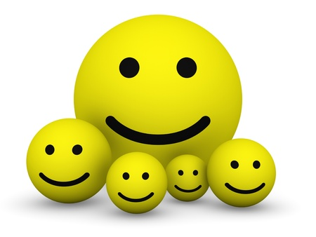 Yellow smiley balls photo
