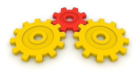 business symbols metaphors: Three gears. Concept of B2B.