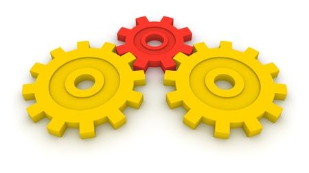 Three gears. Concept of B2B.