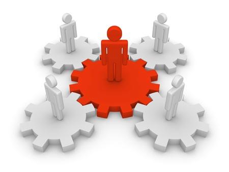 Teamwork mit Teamleiter Standard-Bild