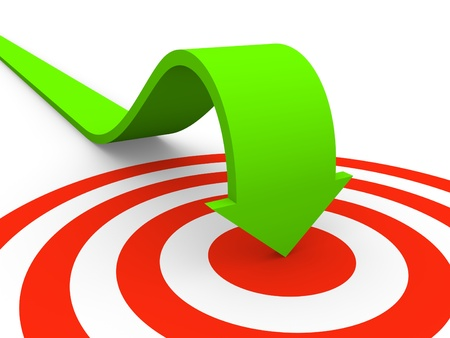 final: Arrow pointing on target Stock Photo