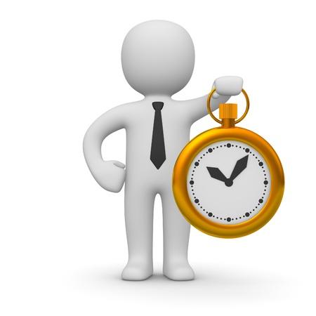 productividad: 3d hombre con un reloj