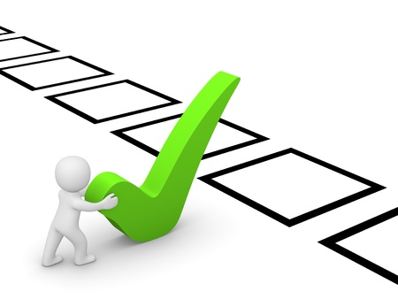polls: 3d man pushing big checkmark towards checklist Stock Photo