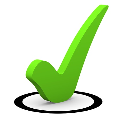 confirm confirmation: Green checkmark in round checkbox Stock Photo