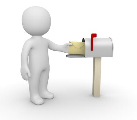 correspondence: Hombre 3d con el sobre junto a buzón Foto de archivo