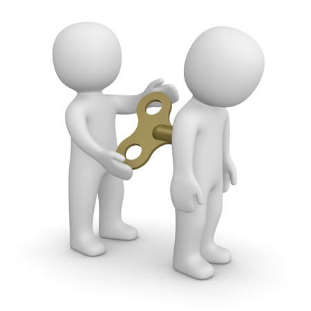 3d man encouraging his partner by key for mechanical toy Banque d'images