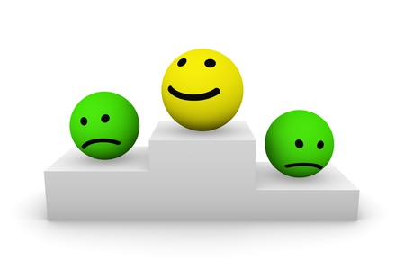 Smiley balls on the pedestal Stock Photo - 15235120