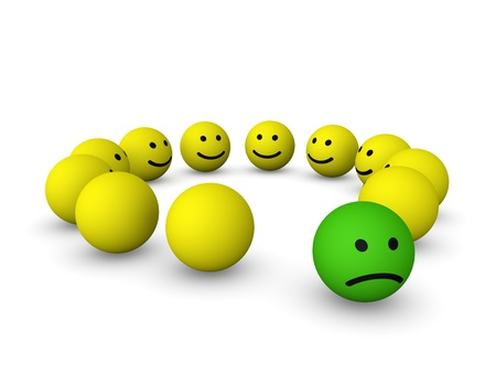 outcast: Sad smiley among happy smileys Stock Photo