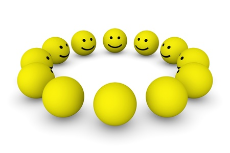 round face: Group of smiley balls Stock Photo