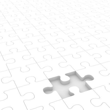 missing piece: White rompecabezas con una pieza faltante