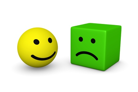 pessimist: Happy smiley ball and sad smiley cube