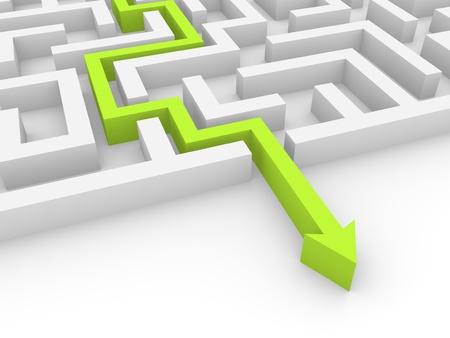doolhof: Groene pijl gevonden uitweg labyrint Stockfoto