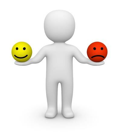 optimismo: Hombre 3d que sostiene dos bolas sonrientes con diferentes emociones