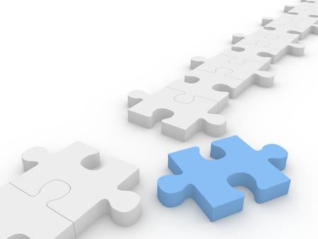 piezas de rompecabezas: Cadena de piezas de rompecabezas con una pieza azul de la fila.