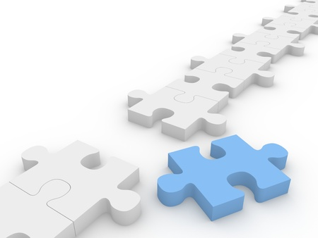 Chain of puzzle pieces with a blue piece out of the row. Stockfoto