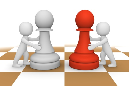 opinions: 3d people pushing pawns